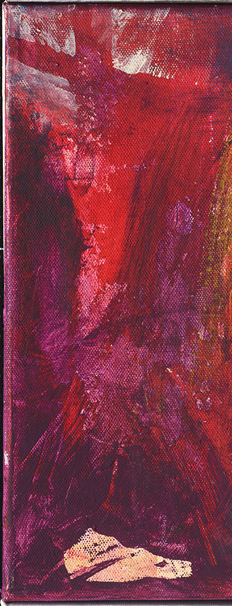 Christus am Kreuz .  Als A6 Karte erhältlich . Ausschnitt aus Maria besucht Elisabeth .  Acryl auf Leinwand .  30 x 30 cm