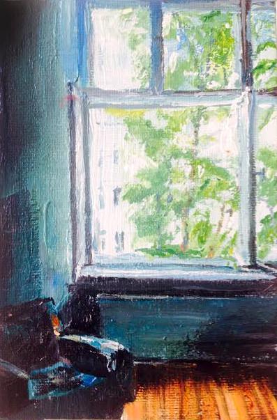 Das Berliner Zimmerr . 10 x 15 cm . Öll auf Malplatte............... VERKAUFT