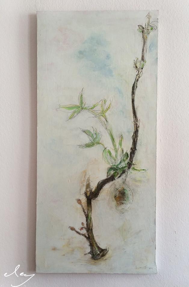 Kastanie im Frühling, 140 x 80 cm,  1500 EUR