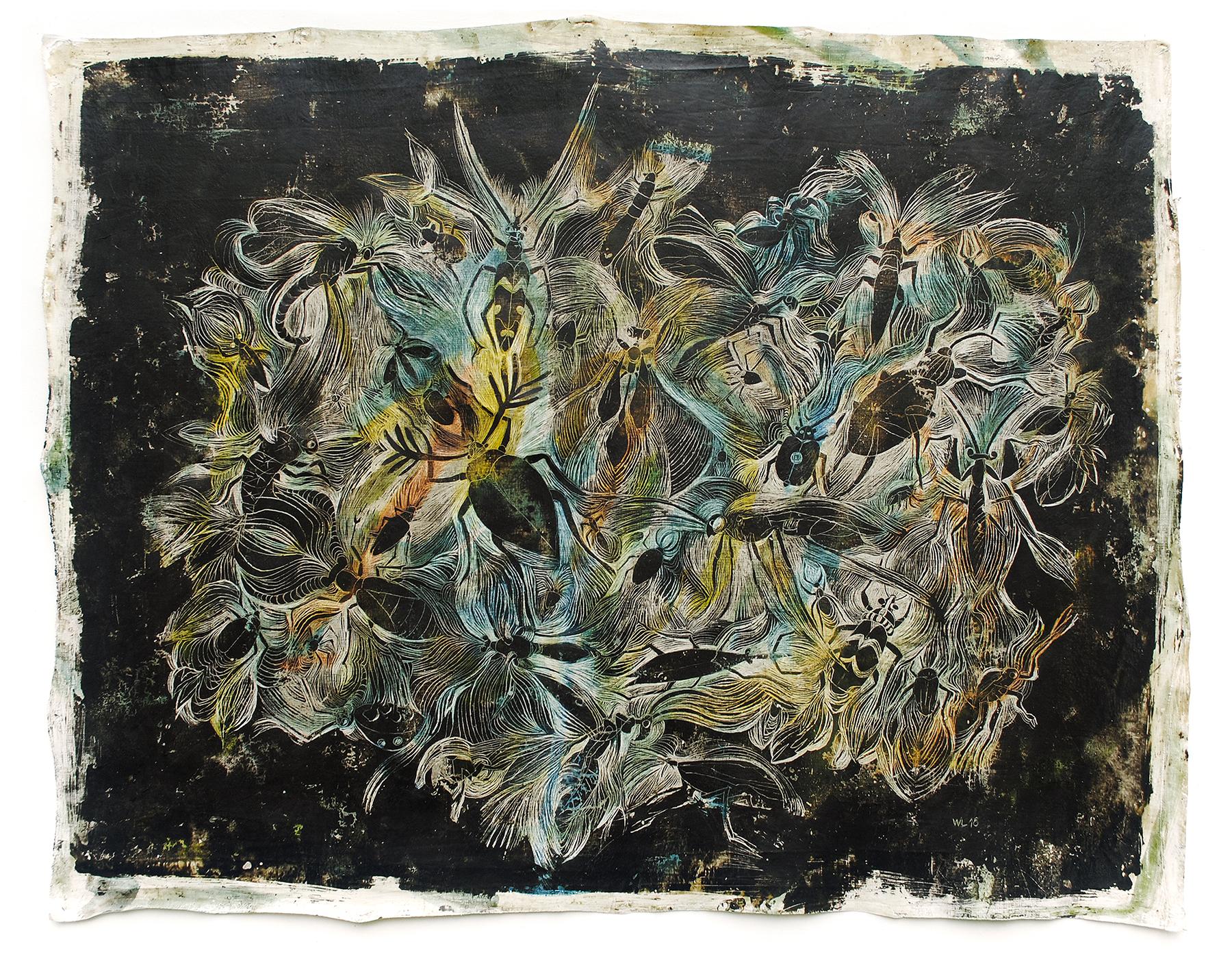 insection 11, 2018, 100 x 80 cm, verschiedene Wachse auf Leinen