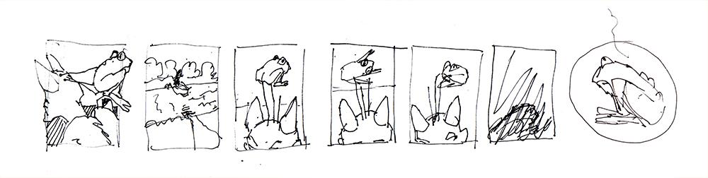 Skizze zu Der Teufel mit den drei goldenen Haaren
