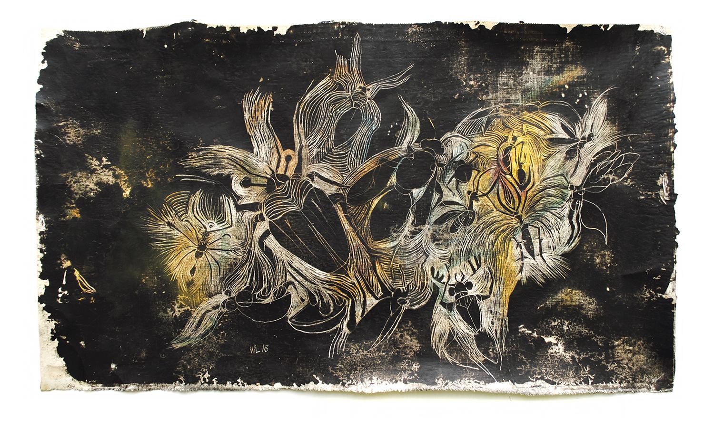 insection 10, 2018, 58 x 34 cm, verschiedene Wachse auf Leinen