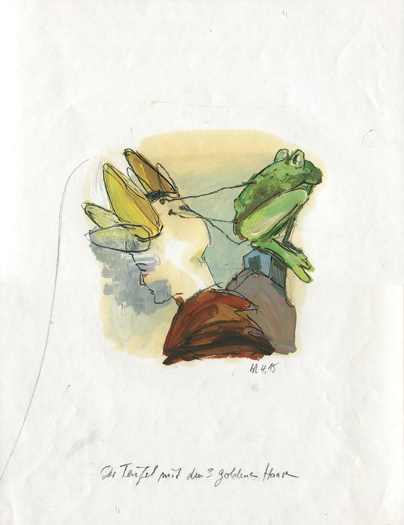Illustration zu Der Teufel mit den drei goldenen Haaren