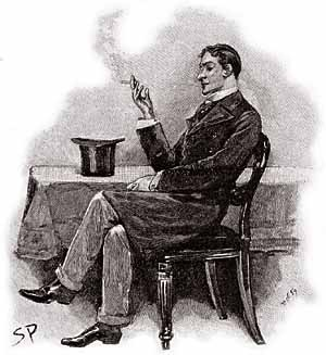 Sherlock Holmes, fumant la pipe. Illustration de Sidney Paget