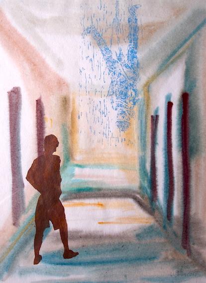 Besucher, 2013, Hochdruck, Aquarell auf Bütten, 47,7 x 35,9 cm