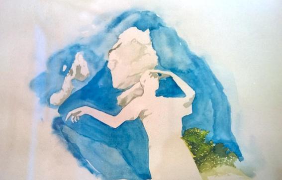 Beobachter, 2002, Aquarell auf Bütten, 36 x 48 cm