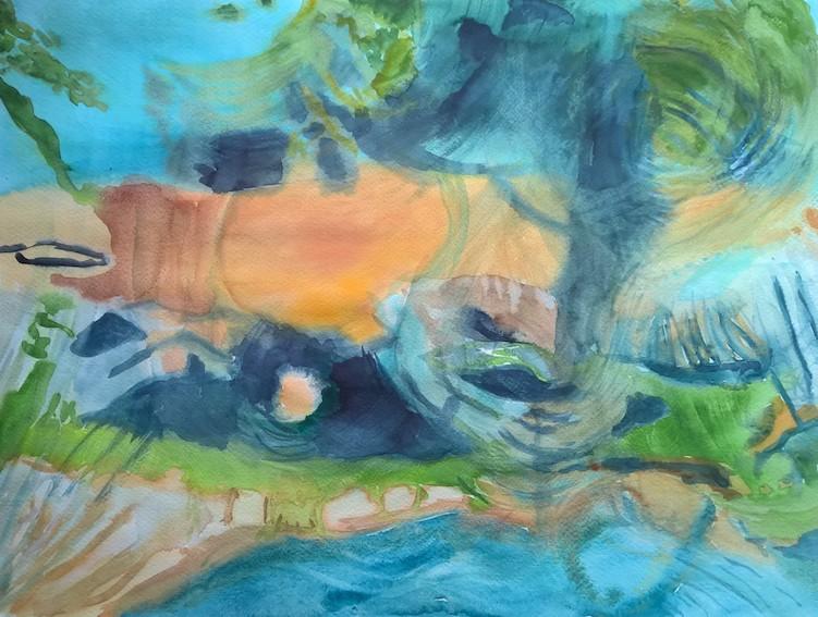Ibiza im Regen, 2019,  Aquarell auf PapierAquarell, 48 x 36 cm,