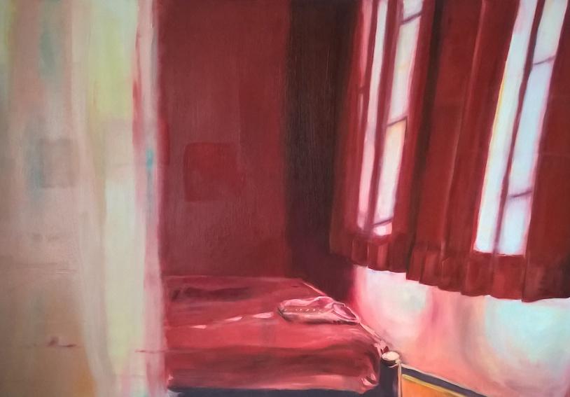 Rotes Zimmer, 2017, Öl auf LW., 80x110 cm,