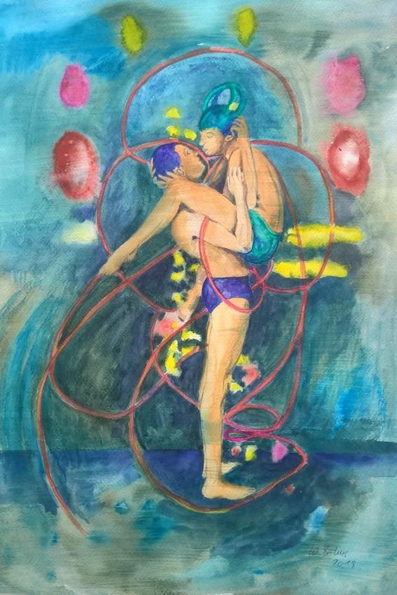 Umarmung, 2019, Aquarell auf Papier, 48 x 36 cm