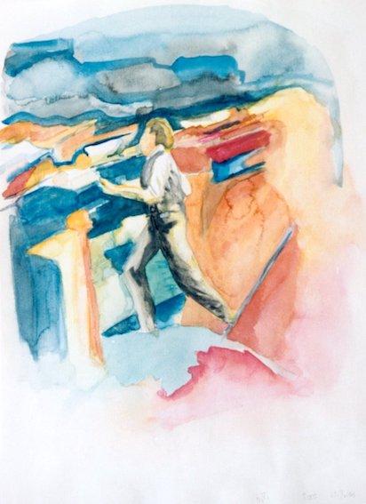 Börsianer, 2003,  Aquarell auf Bütten, 48 x 36 cm