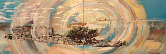 W. Bohns: Insel, 2011, Öl /Acryl auf Leinwand, 60 x 180 cm