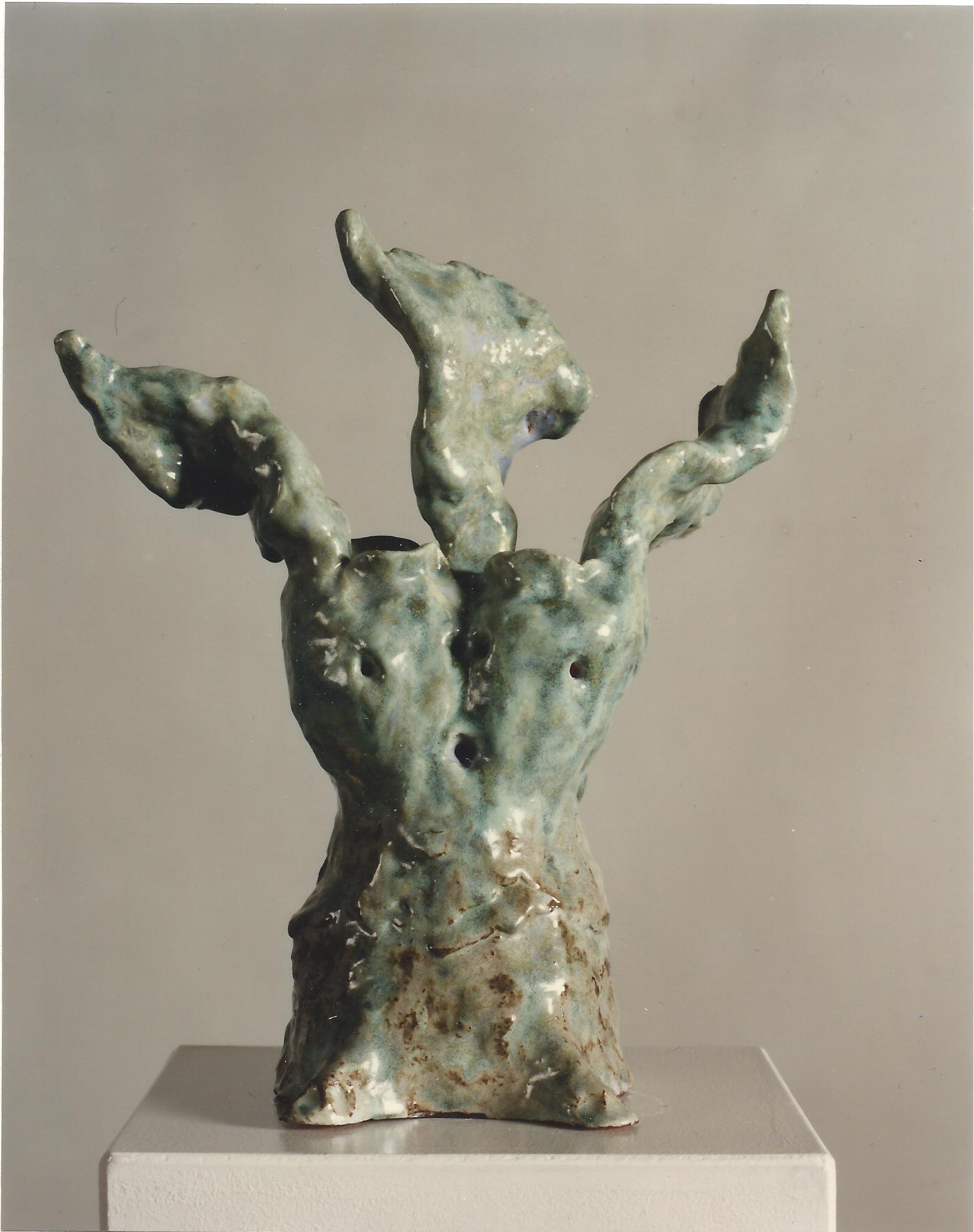 Janusköpfiger Engel, Keramik glasiert, 1997 (33,7 x 29 x 16,5 cm)