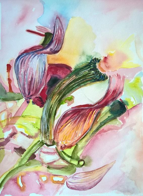 Blumen, 2018, Aquarell auf Bütten, 30 x 40 cm,