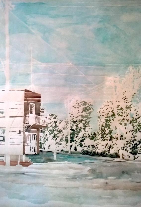 Straßenecke, 2006, Aquarell auf Bütten, 100 x 78 cm