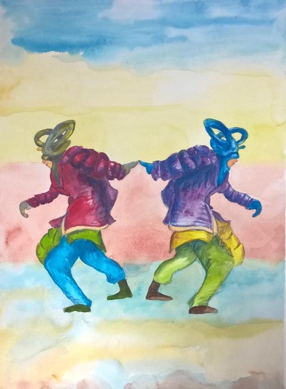 No Zero Drag (Tänzer II), 2018, Aquarell auf Bütten, 48 x 36 cm