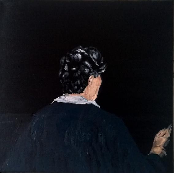 Frau am Fenster, 2017, Öl auf LW., 30 x 30cm