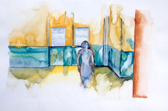 Besucherin, 2002, Aquarell auf Bütten, 36 x 48 cm
