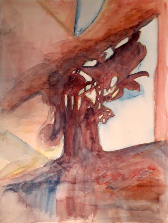 Schattenbild, 2019, Aquarell auf Bütten, 48 x 36 cm