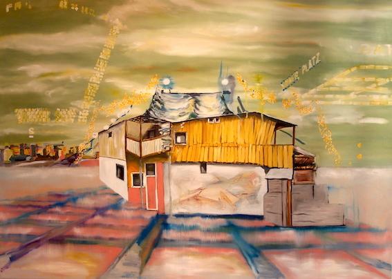 W. Bohns: Baumhaus (Kreuzberg), 2007, Öl auf Leinwand, 130 x 170 cm