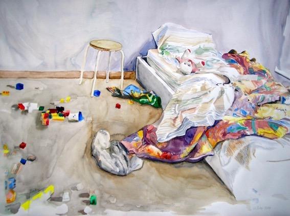 Eric´s Zimmer, 2006, Aquarell auf Bütten, 78 x 100 cm