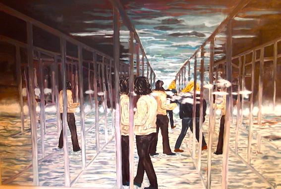 Besucher, 2011, Öl auf LW., 80 x 120 cm