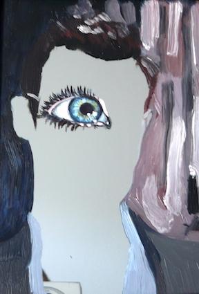 Spiegelbild, 2014, Öl auf Spiegelglas, je 16,4 x 12 cm