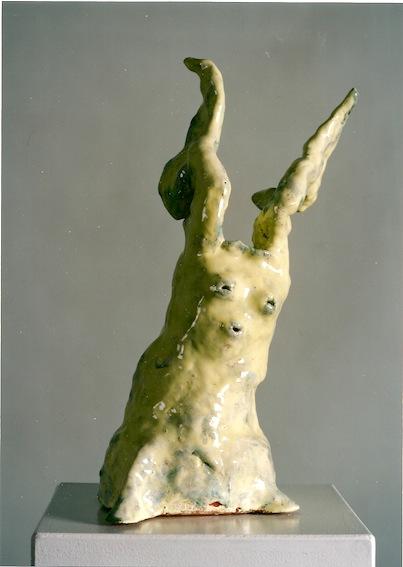 hellgelber Engel, Keramik glasiert, 1997 (38 x 20 x 16,5 cm)