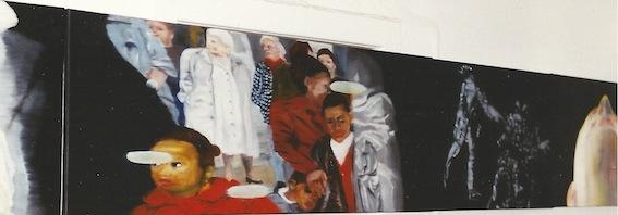 Ghost-Walk, Detail Bilderfries, 1999, Öl auf LW., 55 x160 cm