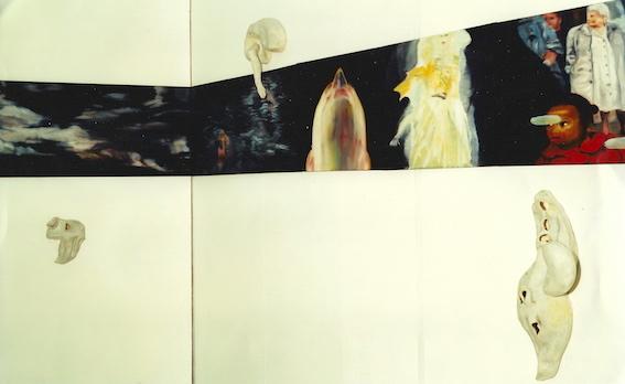 Ghost-Walk, 1999,  Öl auf LW. / Keramikobjekt, 55 x1400 cm