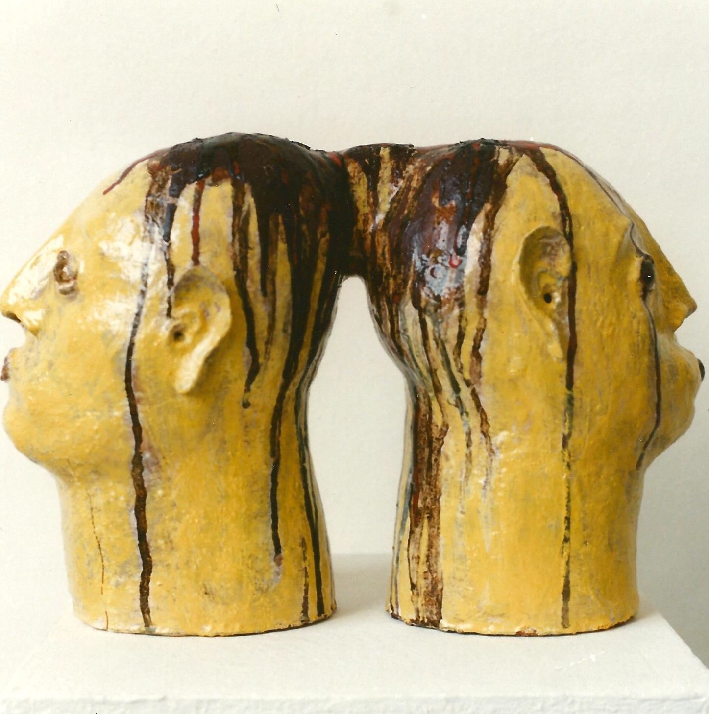 Januskopf Nr.4, Keramik glasiert, 1996 (32,2 x 46,8 x 20,5 cm)