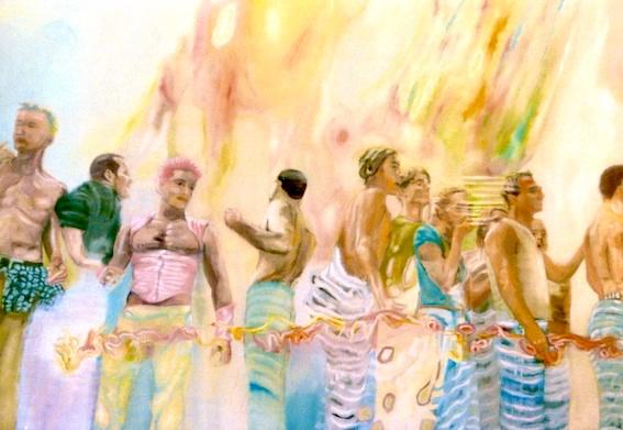Parade, 2002, Öl auf LW., 150 x200 cm