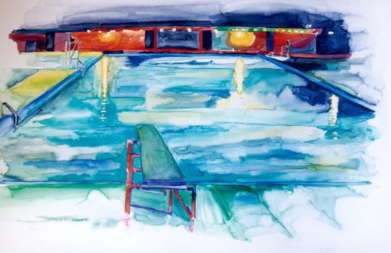 Pool, 2004, Aquarell auf Bütten, 50 x 70 cm
