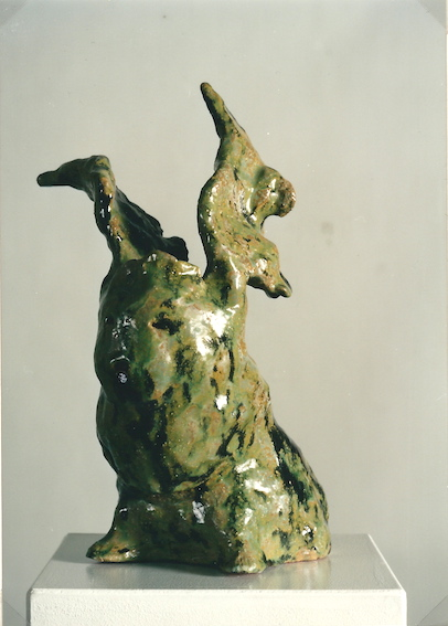 Grüner Engel, Keramik glasiert, 1997 (36,0 x 23,5 x 22,5 cm)