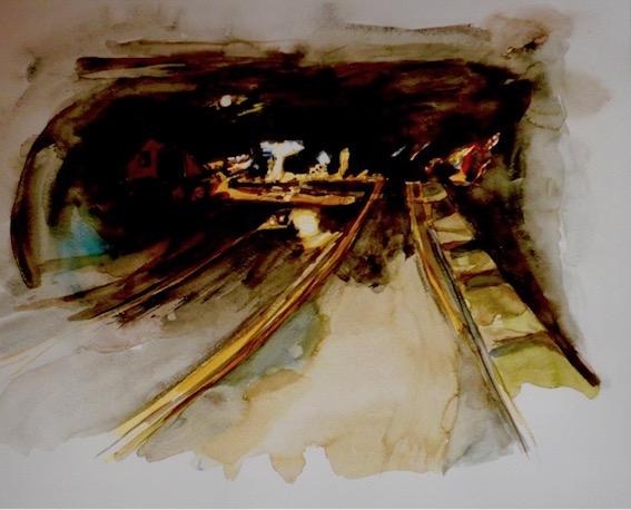 Nachtfahrt, 2008, Aquarell auf Bütten, 30,4 x 45,7 cm