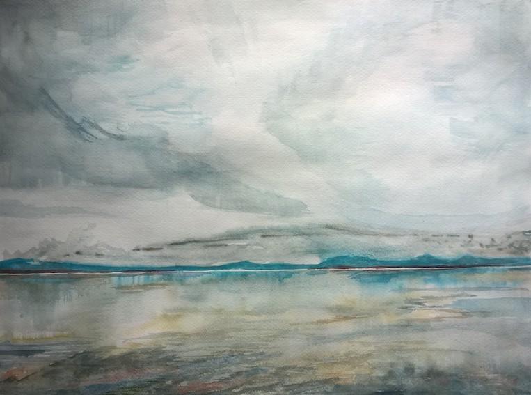 Insel (Sankt-Lorenz-Strom), 2018, Aquarell auf Papier, 48 x 36 cm