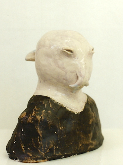 Dichter, Keramik glasiert, 1998, Privatbesitz Bremen (20,0 x 19,0 x 13,0 cm)