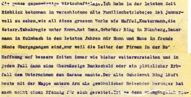 Ausschnitt 27.11.1927 Brief von Hans an OpaFentsch