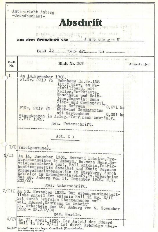 Grundbuchauszug ab 1902