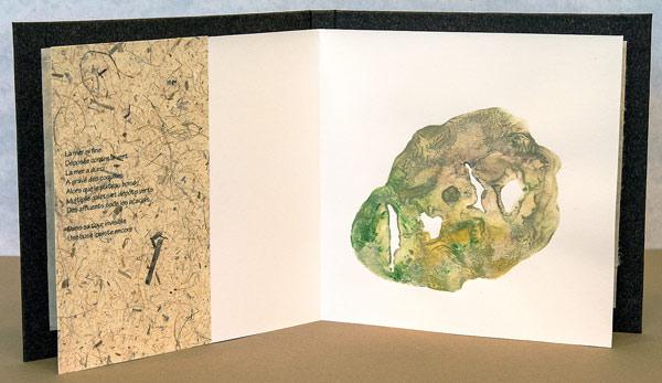 Le cœur de la rivière - 2e double page - poésie et impression de terre