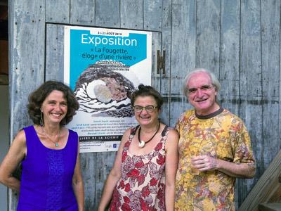 Entrée de l'exposition en compagnie de Sophie Vigneau et Jean-Louis Marc, gérants des Ateliers de la Scierie