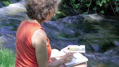 Croquis à l'aquarelle au bord de la rivière Fougette