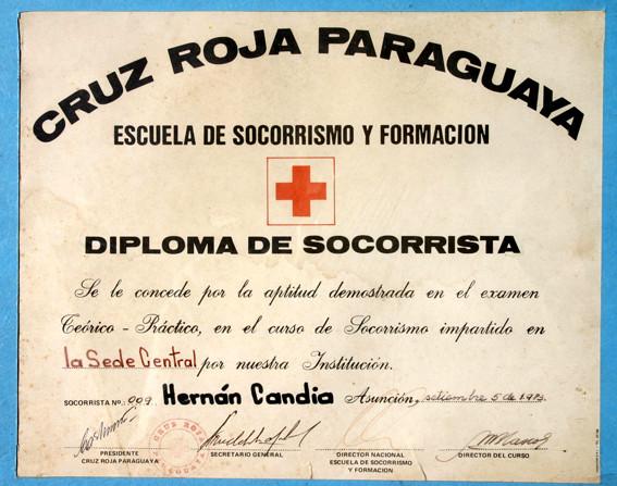 Diploma de Socorrista de la Cruz Roja Pparaguaya