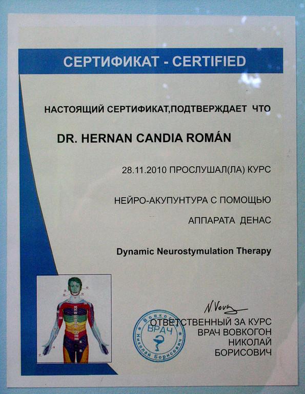 Estudio de Electro Neuro Puntura, con el Dr Vovkogon de la Universidad de San Petersburgo, Rusia