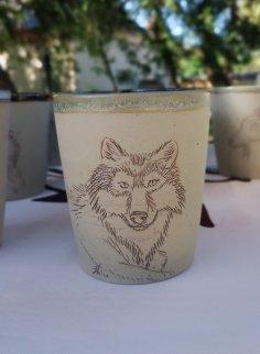 loup, gobelet animalier unique Terre Ardeline