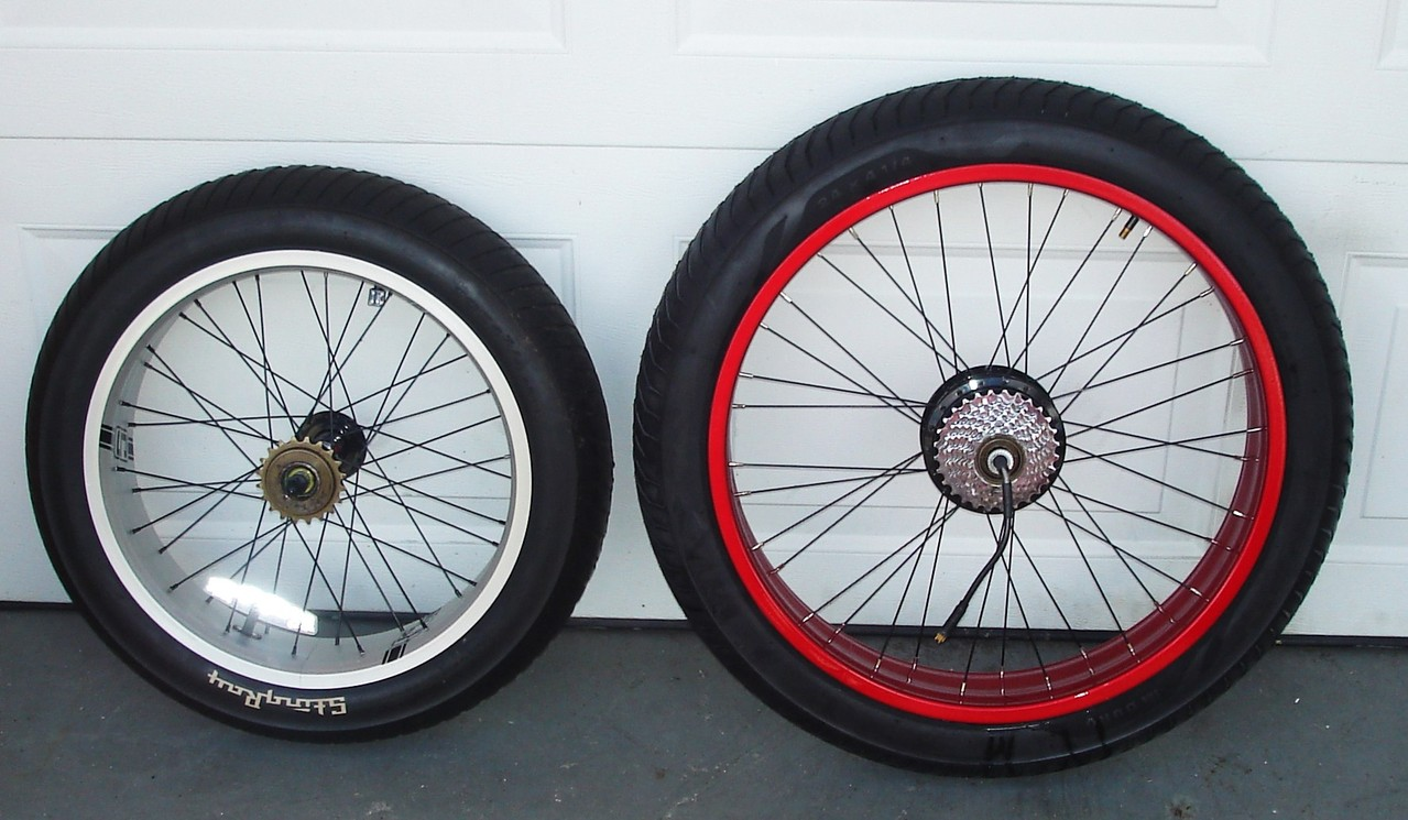 "COMPARE - Stock 20"" inch OCC RR. Wheel to 24"" inch Upgrade w/ E-BIKE KIT RR HUB"