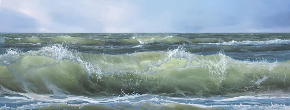 Grote golven Texel - Olieverf op paneel 60 x 140 cm BESCHIKBAAR