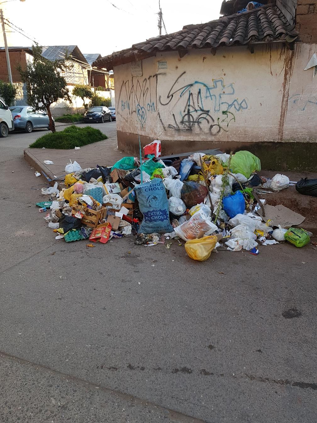Müll an unserer Straßenecke, Mülltrennung gibt es nicht.