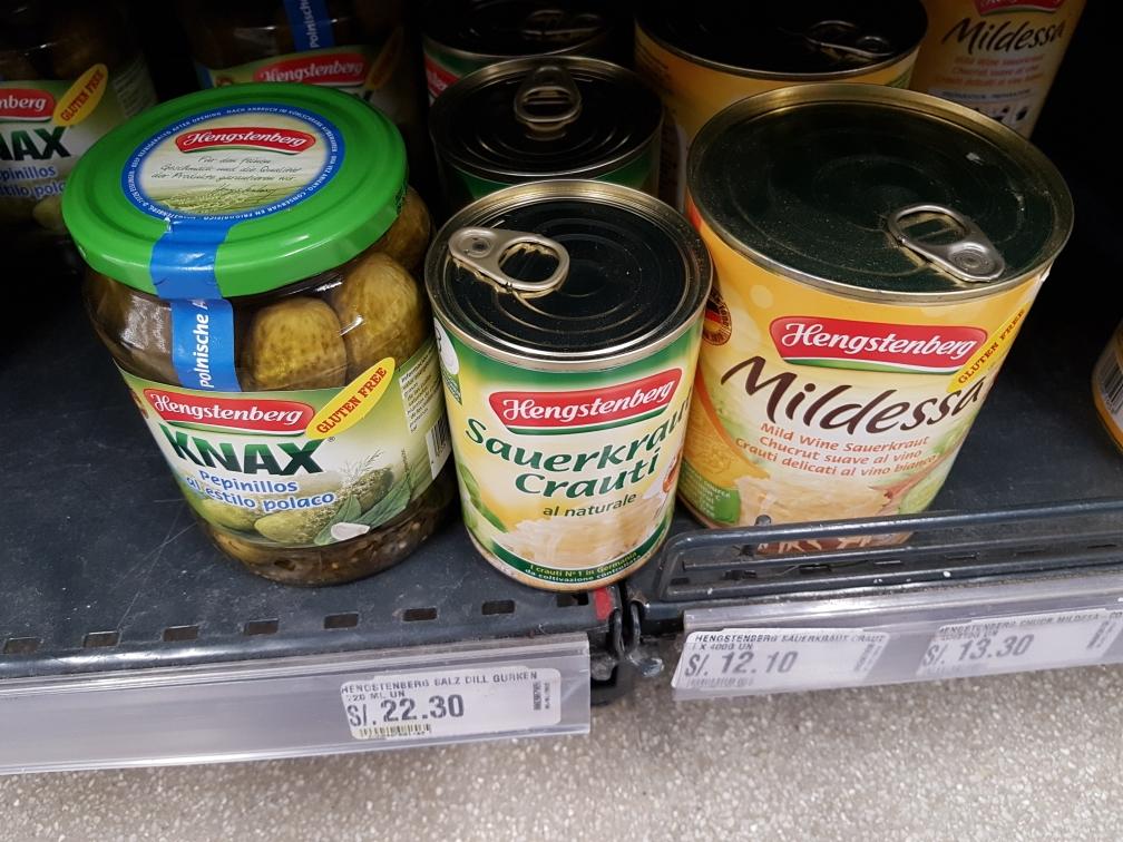 Die peruanische Küche ist sehr lecker, aber wer deutsche Produkte vermisst, wird auch hier fündig...