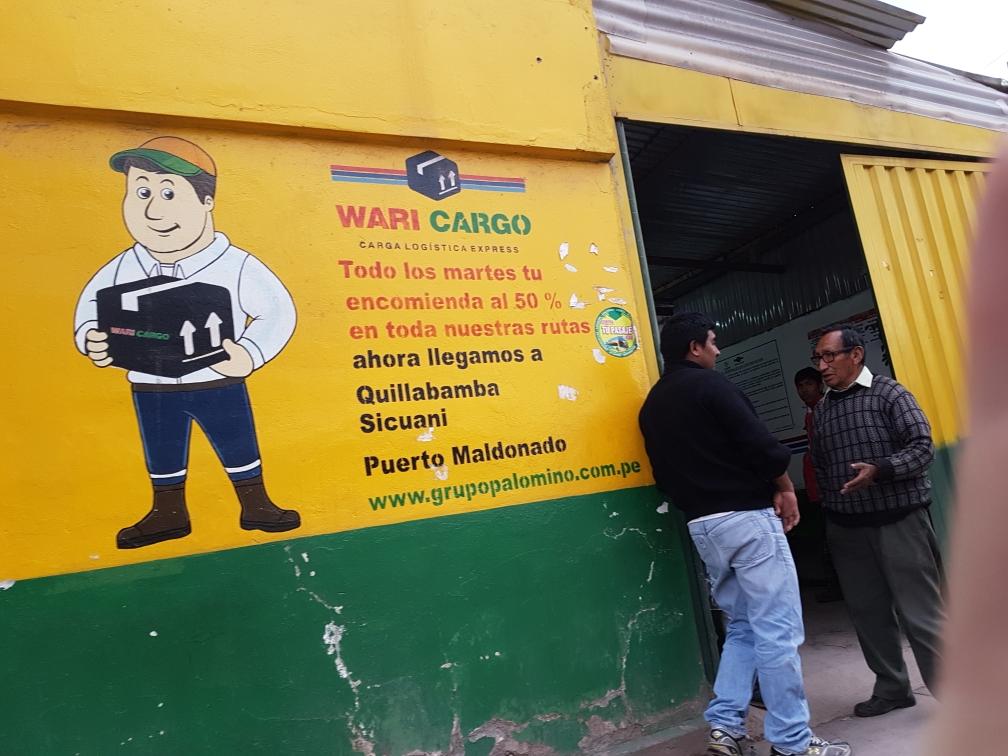 Das Transportunternehmen mit dem wir unsere Koffer per Bus nach Cusco geschickt haben.