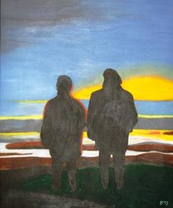 490 - Sonnenuntergang bei Pilsum (Hommage à Friedrich) oder 40 Jahre Liesel u. Ludger, 2013
